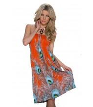 Poletna oranžna oblekica Peacock